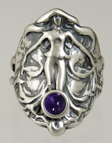 An Elegant Sterling Silver Lady of the Realm Ring Featuring a Lovely Iolite Gemstone