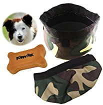 Genie Best Pet Travel Bowl Collapsible Premium Nylon For Every Dog Parent. 3-in-1 Food Water Bowls Water Proof and Treat Bag. Special Limited Time Offer Free Treat Container & eGuide (Green)