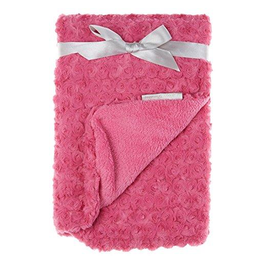 Soft Baby Girl Dark Pink Rosette Blanket