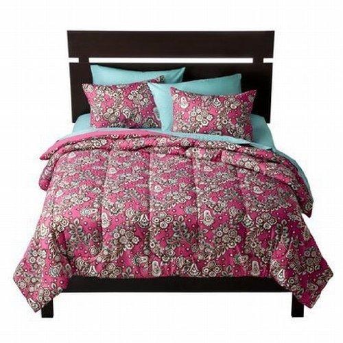 xhilaration-full-queen-hot-pink-brown-floral-comforter-set-shams-reversible-by-xhilaration