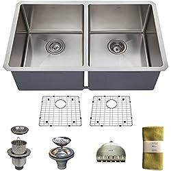 Zuhne 32 Inch Undermount 50/50 Deep Double Bowl 16 Gauge Stainless Steel Modern Kitchen Sink