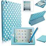 Fulland APPLE IPAD 2 3 4 Slim PU Leather Cover Case with 3-FOLD STAND And SMART SLEEP WAKE Plus Stylus Pen and Screen Protector -sky blue white dot