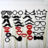Mustache on a Stick Wedding Favor Party Photo Booth Prop Mask 30 Piece Set - 10 Mustaches , 8 Eye Glasses , 8 Lips , 1 Skull and Crossbones Pirate Eye Patch , 1 Bow Tie , 1 Monocle and 1 Pipe