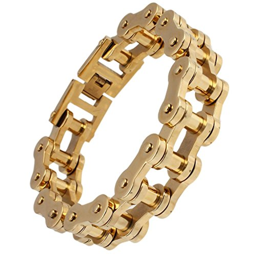 Stainless Steel Bracelet Mens Bycicle Chain Length 23CM Gold – Adisaer Jewelry