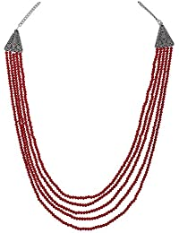 Aradhya Ruby Colour Five Layer Red Color Crystal Beads Necklace For Women And Girls