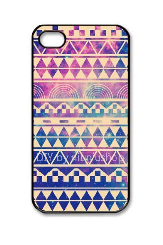 niceEshop(TM) Purple Hipstr Nebula & Aztec Andes Tribal Pattern Case Cover for iPhone4 4G 4S +Screen Protector
