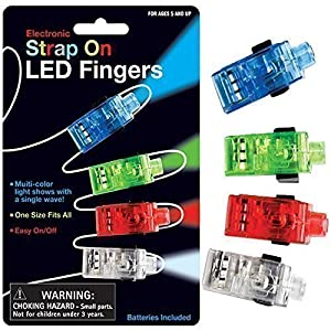 Strap On LED Fingers New Funtime Gadget Electronic Torch Multicolour Light Party
