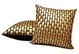 GOLDEN LEATHER BRICKS CUSHION COVER 2 PCS SET (40 X 40 CMS)