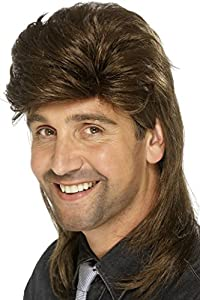 Smiffy's Men's Mullet Wig, Brown, One Size