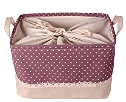 GreenForest Storage Round Basket with totes, Purple Dots