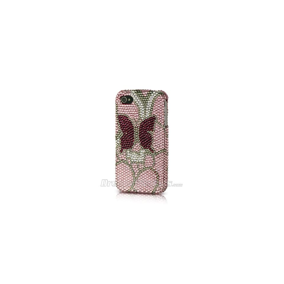 p2s88 Platinum Endless Sparkles Series Collection Pink with Burgundy Butterfly Handmade Full Diamond Rhinestone Snap on Hard Skin Cover Case for Apple iPhone 4 / 4S