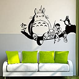 YUFENG Totoro on Tree Branch Wall Decor Decal for Nursery Room Wall Art Children\'s Sticker Art Anime My Neighbor Totoro Kid\'s Room Decal Vinyl Art Baby Kid\'s Room Sticker (TOTORO 1)