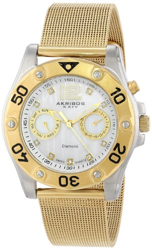Akribos XXIV Women's AK553YG Diamond Gold-Tone Stainless Steel Mesh Bracelet Watch