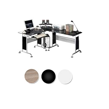 SixBros. Mesa de ordenador Vidrio/Negro - CT-3807/46 - Vidrio negro - Estructura metal gris plateado