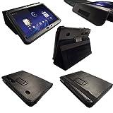 igadgitz Echt Leder Tasche Schutzhülle Etui Case Hülle in Schwarz für Motorola Xoom Android Tablet mit integriertem Stand