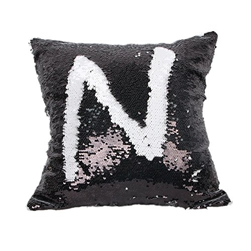 Menglihua Glitzy Magical Color Changing Reversible Paillette Sequin Mermaid Square Throw Pillow Covers Black-White 18