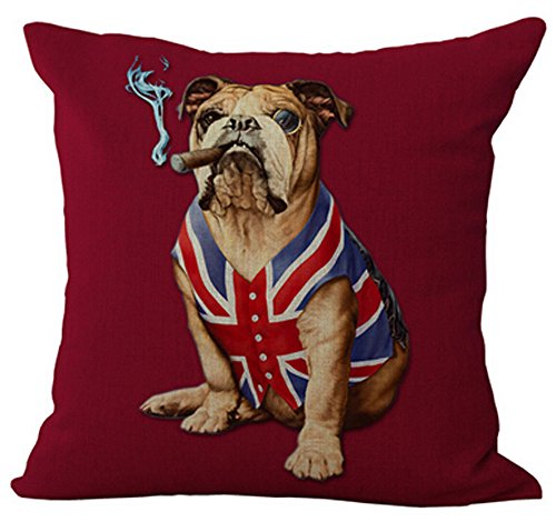 Creative personality American flag and Union Jack pet dog Home Throw Pillow Case Personalized Cushion Cover NEW Home Office Decorative Square 18 X 18 Inches (English Bulldog) (English Bulldog Throw Pillows compare prices)