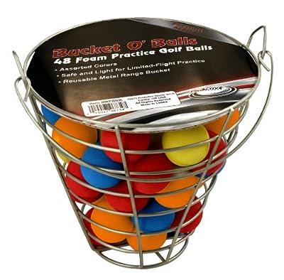 48 Multi-Color, Foam, Golf Ball-Sized, Indoor/Outdoor, Limited Flight, Practice Balls in Metal, Range-Style Bucket