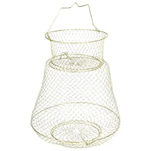 Gold Tone Spring Design 2 Layers Metal Fishing Keep Net Cage 40cm High