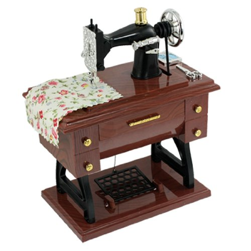TOOGOO(R) Wind Up Vintage Mini Sewing Machine Style Mechanical Music Box - 1