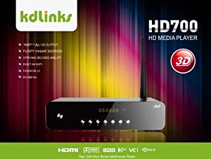 New Arrival! KDLINKS HD700 Extreme FULL HD 1080P 3D Media Player with Gigabit Network, Built-In Wifi, 7.1 HD-Audio, Youtube & Full ISO/VOB Support (Realtek 1186 3D)