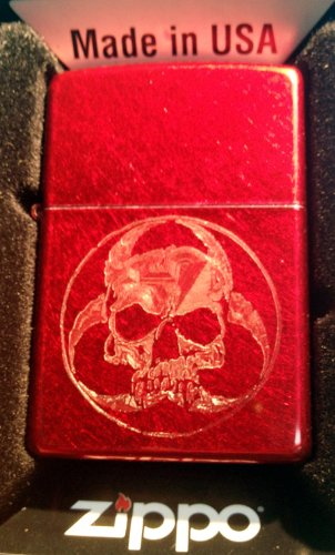 Zippo Custom Lighter - Biohazzard Death Anti Vampire Zombie Skull Logo Red Candy Apple Rare!