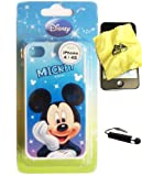 BUKIT CELL Disney ® Mickey Mouse HARD BACK PIECE Faceplate Protector Case Cover (Mickey Dreaming) for Apple iPhone 4S / 4G / 4 (Fits any carrier AT&T, VERIZON AND SPRINT) + Free WirelessGeeks247 Metallic Detachable Touch Screen STYLUS PEN with Anti Dust Plug