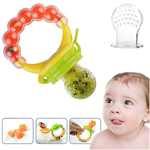 Silicone Baby Food Feeder Pacifier Gum Teether Nibbler with Fresh Fruits Vegetables for Feeding Toddlers. Baby Shower Gifts for boys and girls. (Freezer Baby Food Bags compare prices)