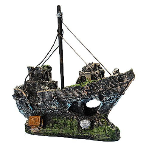 LIAMTU Resin Fishing Boat Aquarium Ornament Plastic Decoration Plant for Fish Tank Accessories