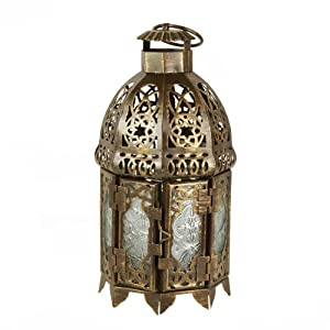 4 Rustic Gold Moroccan Lantern Flameless LED Tealight Cand