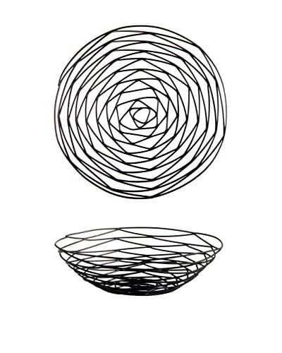D&V Set of 2 Woven Bread Baskets, Black