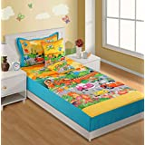 Swayam Kids N More Digital Print Cotton Single Baby Bedsheet With 1 Pillow Cover - Multicolor (SKB02-188)