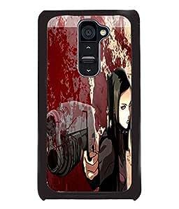 Fuson Blood Gun Girl Back Case Cover for LG G2 - D3831