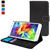 Snugg Galaxy S5 Leather Flip Case in Black - Flip Wallet case with Card Slots, Stand and Premium Nubuck Fibre Interior for the Samsung Galaxy S5 (Black)