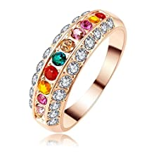 buy Womens Rings Alloy Rose Gold Plated Austrian Crystal Classic Round Size Us 8 By Aienid