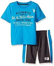 U.S. Polo Assn. Little Boys\' Graphic T-shirt and Mesh Sport Short, Teal Blue, 5/6