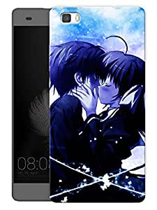 "Humor Gang Emo Couple Kissing Cartoon Printed Designer Mobile Back Cover For ""Huawei P8"" (3D, Matte, Premium Quality Snap On Case)"