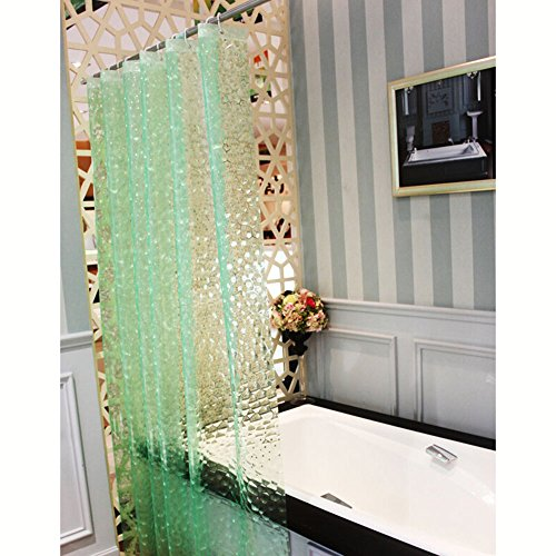 JBtek 3D Effect Bathroom Curtain 3D Water Cube Mold & Mildew Free Shower Curtain Shower Liner 100% EVA with Plastic Hooks (Green) (Shower Liner Green compare prices)