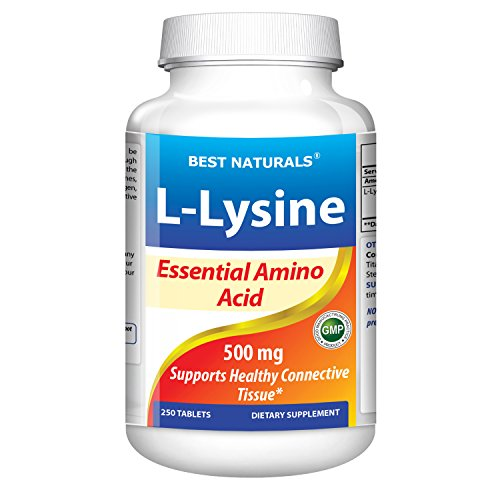 #1 L-Lysine 500 Mg 250 Tablets By Best Naturals -- Essential Amine Acid -- Manufactured In A Usa Based Gmp Certified Facility And Third Party Tested For Purity. Guaranteed!!