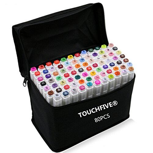 touchfive-marker-lot-de-80-marqueurs-a-double-pointes-brush-dans-un-sac-pour-animation