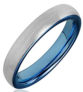 FCL Domed Women Tungsten Carbide Band 4mm Inner Plating Blue Fashion Wedding Rings Size 4