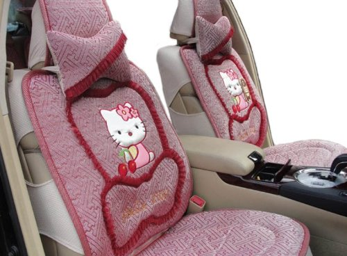 EMS Shipping 8pcs Kitty Pattern Ice Silk Auto Car Seat Cover Accessories Set (Model: Zj000166)