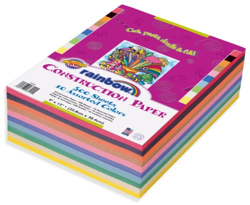Rainbow Super Value Construction Paper, 9 x 12 Inches, Assorted Colors, 500 Count  (6555) - 1
