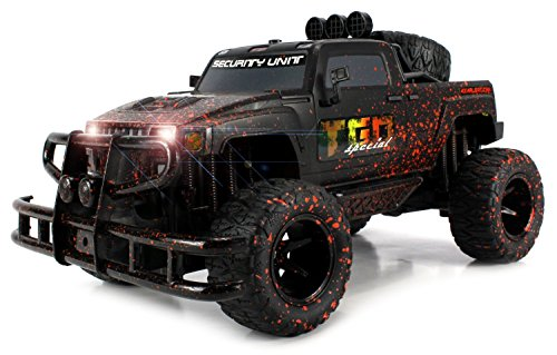 Velocity Toys Mud Monster Hummer H3T Pickup Battery Operated RC Off-Road Truck Big 1:10 Scale RTR w/ Working Headlights, Custom Mud Splatter Paint Job (Colors May Vary)