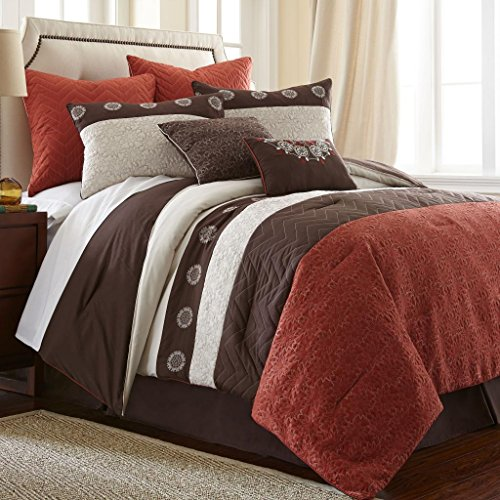 Sale!! Pacific Coast Textiles 8-Piece Halsten Rust Comforter Set, Queen, Red/Brown