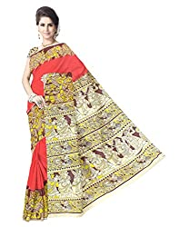 GiftPiper Kalamkari Hand Block Print Cotton Saree-Red&Yellow