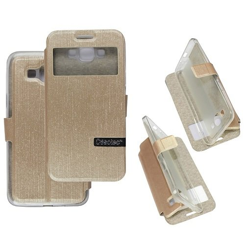 Casotec Premium Kickstand Caller-id Flip Cover with All-around TPU Inner Case and Snap Button Closure for Samsung Galaxy Grand Max - Golden