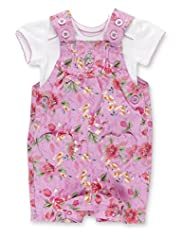 2 Piece Pure Cotton Floral Bibshort Dungaree Outfit
