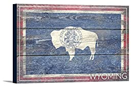 Wyoming State Flag - Barnwood Painting (18x12 Gallery Wrapped Stretched Canvas)
