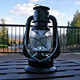 2 Pack-Hurricane Lantern Light, 9.5 inch Black Metal, Battery Op. Dimmable LED